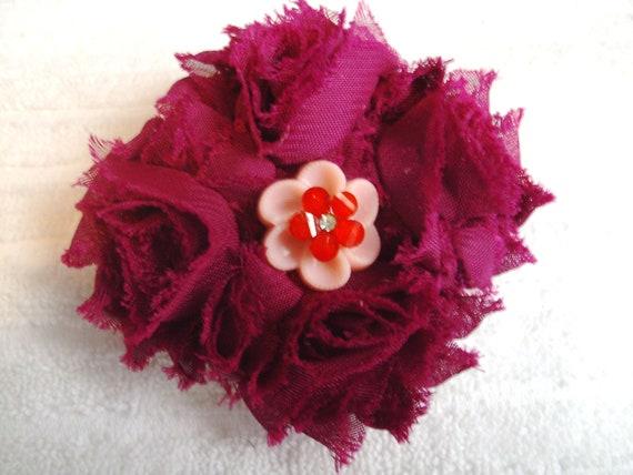 French Style Barrette - Shabby Flower Barrette