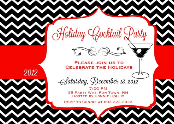 chevron black and white with red invite