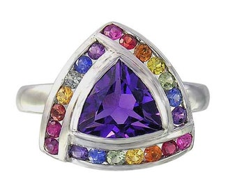 Multicolor Rainbow Sapphire & Amethyst Trillion Cluster Ring 14K White Gold (2.26ct tw) SKU: 1839-14K-Wg