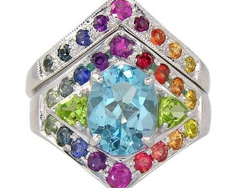 rainbow pride engagement wedding ring 925 sterling silver 089ct tw sku 1569b - Rainbow Wedding Rings