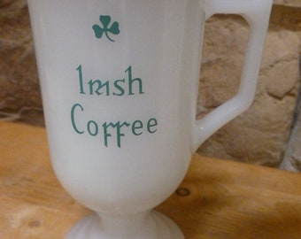 Irish Coffee Mug Milk Glass Gold Rim Federal Glass