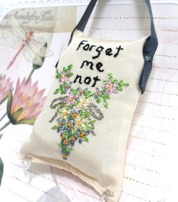 Sachet with lavender, rose,and cedar, hand embroidered, forget me not flowers