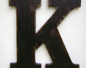 """Large wood letter K shabby chic wall hanging decor 18"""" tall"""