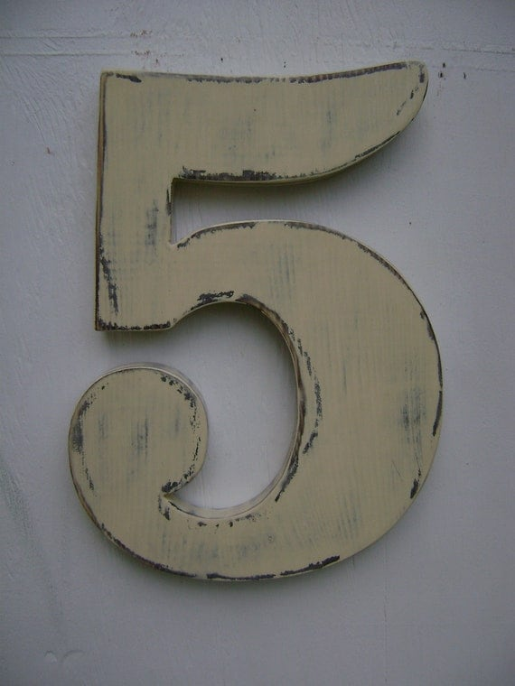 Number 5 shabby chic wall hanging rustic wooden numbers- painted antique white
