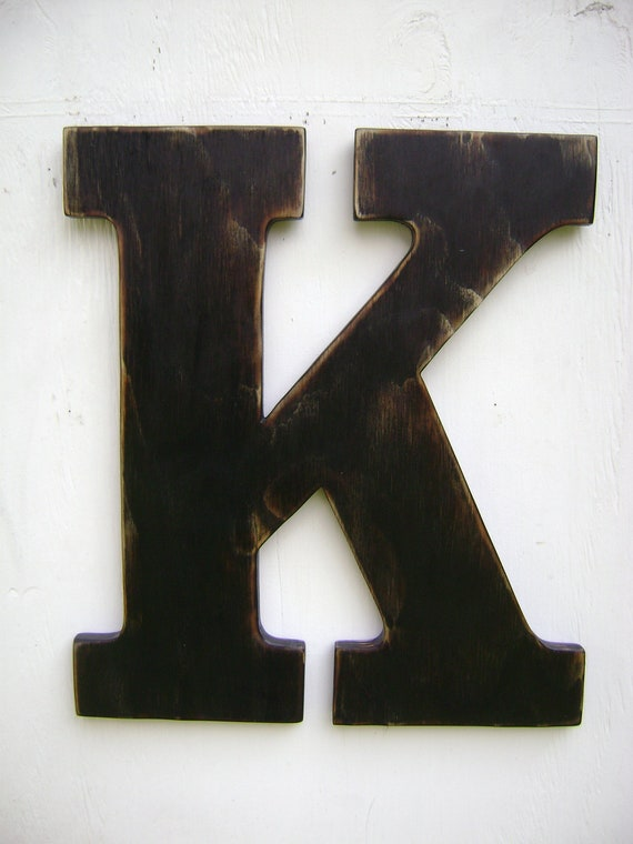 Items similar to large wood letter k shabby chic wall for Large letter k wall decor