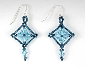 Beaded Earrings: Swarovski Crystal, Seed Beads, and Bugle Beads in Aqua and Gray Blue