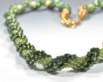 Olive Green Bead Crocheted Spiral Long Rope Seed Bead Beaded Necklace