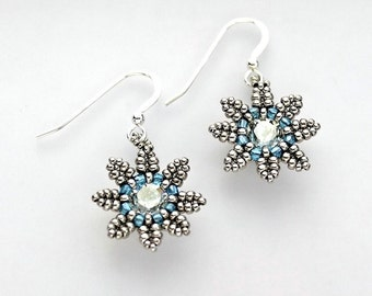 Beaded Flower Earrings, Seed Beads and Crystal in Silver and Aquamarine Blue