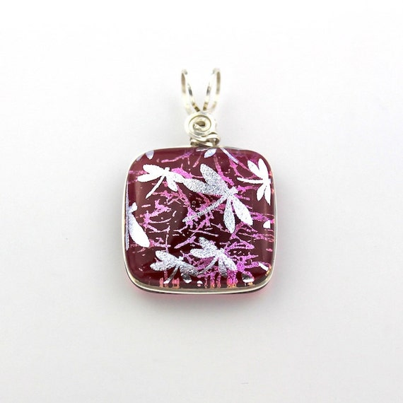 Reserved for Karen, Sterling Silver Wire Wrapped Dichroic Glass Pendant, Pink with Silver Dragonflies and Sterling Silver Chain