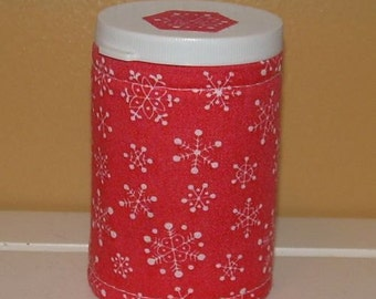 Coral SNOWFLAKE QUILTED  BOTTLE for meds, candy, gift, stocking stuffer etc