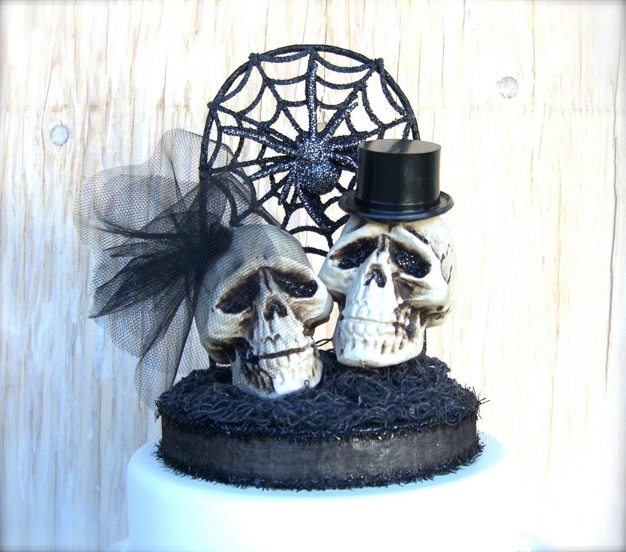 Skull Cake Topper Goth Wedding Dia De Los Muertos Black