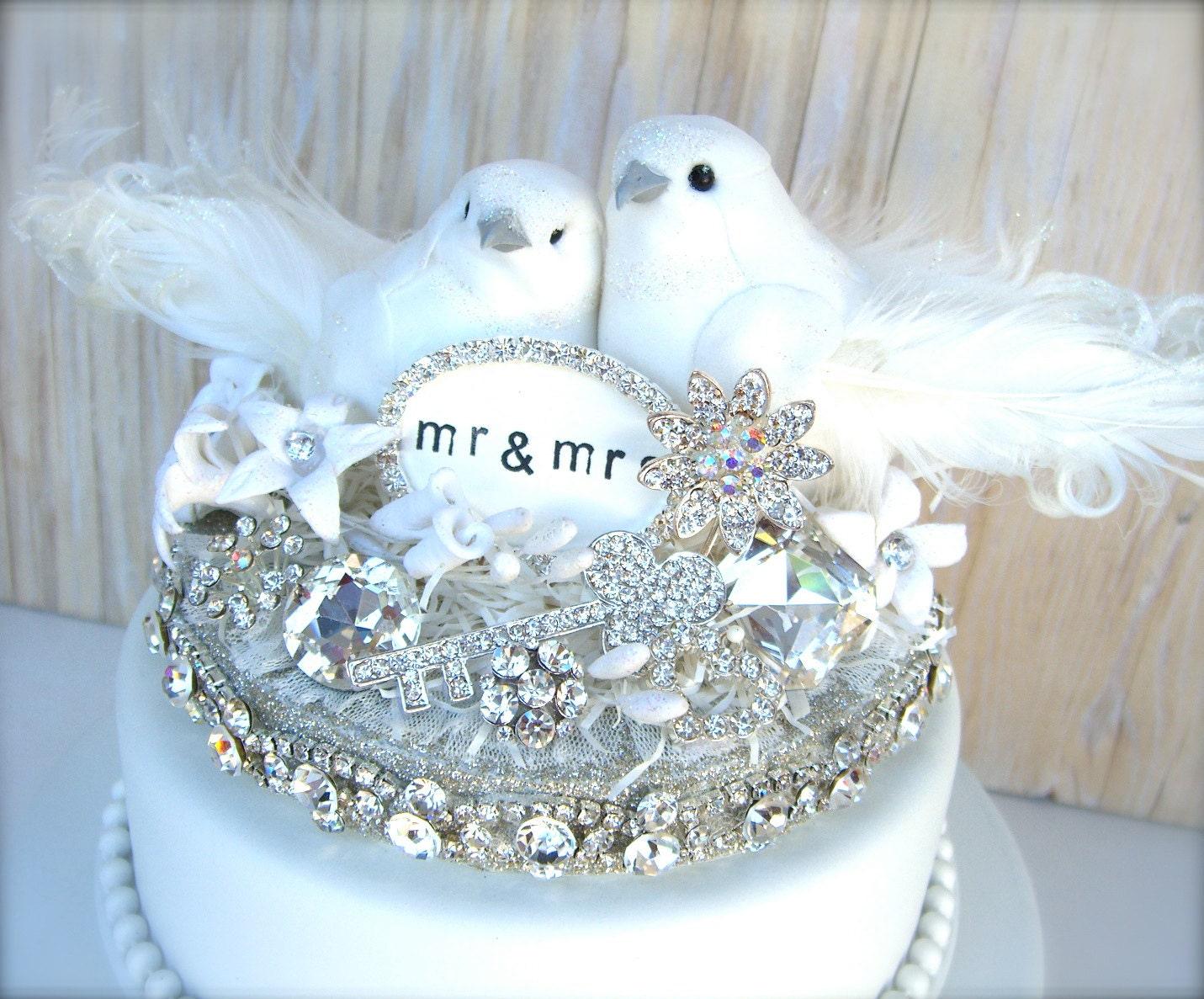 RESERVED FOR CINDY Bling Cake Topper Winter White Wedding