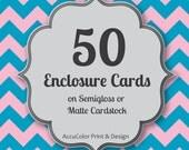 Enclosure Card PRINTING 50 Custom, 3x3 to 4x5 size card, print service, fast printing, wedding, anniversary, announcement enclosure prints