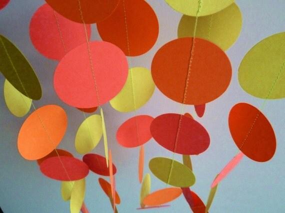 Neon Pink Orange Green Garland, Birthday Party, Fluorescent Colors, Paper Garland, 10'