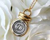 Gold & Antique Silver Necklace,wax Seal Initial,monogram,letter,custom,personalized A B C D E F G H I J K L M N O P R S T U V W X Y Z