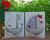E-PATTERN: boat, summer, coastal style, bunting, fabric, soft toys, frame