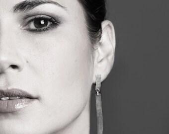 ON SALE, Free shipping, long earrings, statement earrings,silver earrings, rectangle earrings,hammered earrings