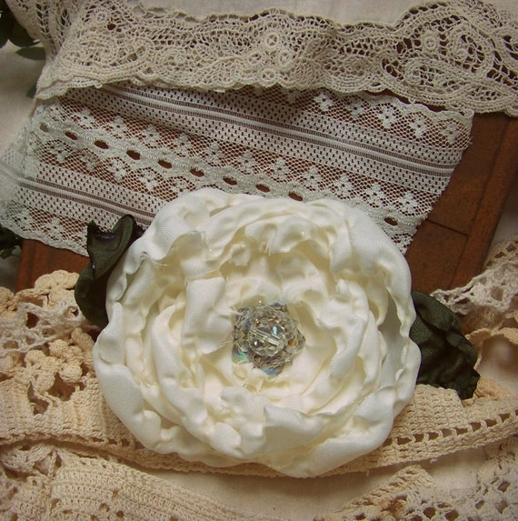Ruffled Prairie Chic and Shabby Chic  Rose Pin with Antique Jewelry Accent