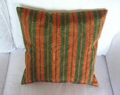 COLORFUL PILLOW COVER cotton silk blend olive green burned orange striped turkish traditional hand crafted kutnu