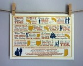 Custom Wedding Invitation - The Story Of Us Printable in Red, Yellow and Blue