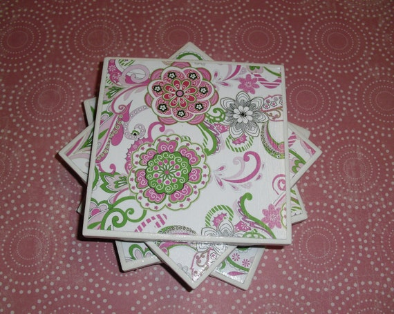 Tile Coasters Set of Four: Pink, Green, White, and Black, Flowers Patterned, Felt-Backed, Tile