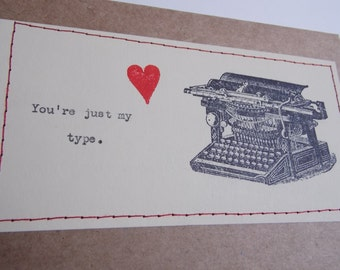Funny Love Card You're just my type typewriter card