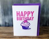 Happy Birthday Cupcake Letterpress Card