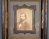 Antique Victorian Picture Frame.  Faux Grain Painted, Incised, Gold Gilt Frame.  Detailed Matte.  Photo of Man