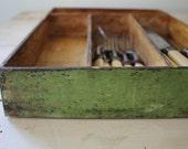 Primitive Silverware Tray ORIGINAL Paint