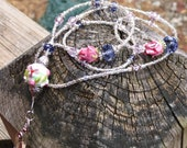 Pretty purple tanzanite and pink lampwork and crystal beaded lanyard