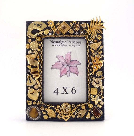 Jeweled Picture Frame -  Black and Gold - 4x6 Photo Frame - Handmade