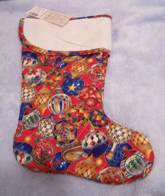 Christmas stocking quilted body aida cloth cuff full size for Charles craft christmas stockings