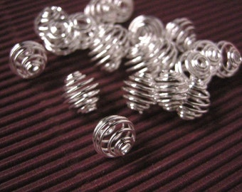 20pc 9mm Silver Finish Iron Wrap-around Bead Cages-5493