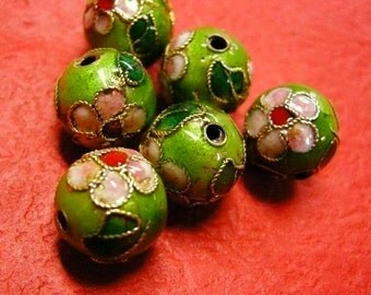 10pc 10mm round Cloisonne beads-664