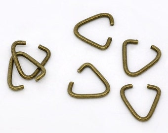 50pc 10x9mm antique bronze triangle jump rings-5784