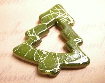 6pc fancy green acrylic christmas tree beads-1491W