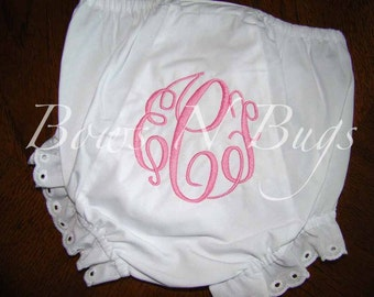 Monogrammed Initials Diaper Cover Bloomers for Girls - PERSONALIZED Custom