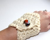 Crocheted Cream Alpaca Fleece Bracelet with Multi Colored Large Bead Closure
