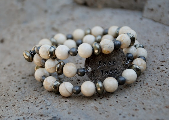 Fear Less Hand Stamped Beaded Memory Wire Bracelet with Riverstone, Pyrite and Gunmetal Beads