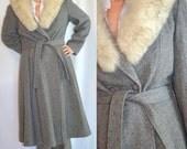 70s Vintage Wool Fur Coat L, XL, 12, 14, 16 Grey, Gray, Winter, Long, Mid-calf, Dress