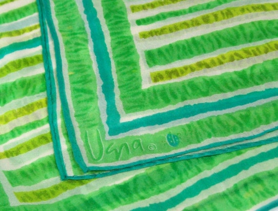 Lovely Spring Scarf NOW on SALE - Vintage Vera Neumann Ladybug Scarf Stripe Pattern in Turquoise Green and Chartreuse on White