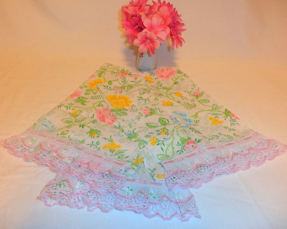 Handmade Floral decorative Guest  hand Towels created  from vintage fabric.