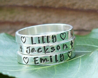 Stackable rings, Stacking rings, Stacker rings, Stackable name rings, Sold INDIVIDUALLY