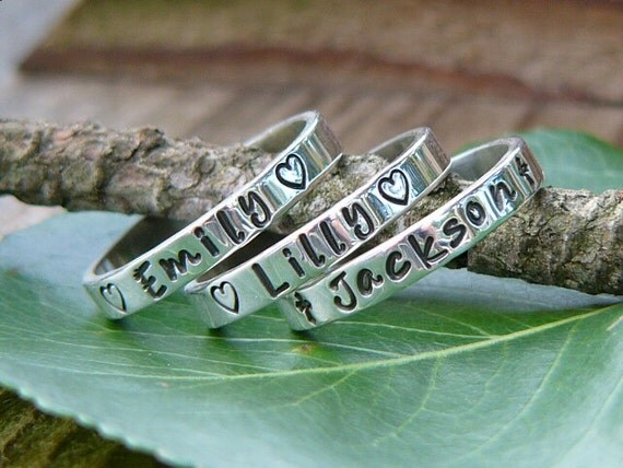 Stackable Rings Name Rings Personalized By NameJewelryDesigns