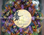 SALE Witching You A Happy Halloween Fall Deco Mesh Wreath