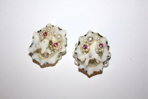 Vintage Earrings Shell Coral Rhinestone 1950s Jewelry