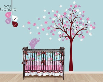 "Baby Nursery Wall Decals - Tree Wall Decal - Elephant Decal - Large: approx 87"" x 82"" - K035"