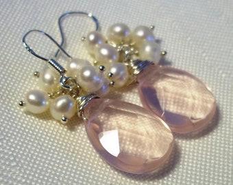 Pearl Earrings, Sterling Silver Earrings,  Freshwater Pearls Earrings, Rose Quartz Earrings, White Pearl Earrings, Pink Rose Earrings