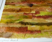 Hand Painted Watercolor Original Paper Collage Shades of Gold Orange Brown and Green