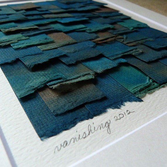 Decorative Art Watercolor Paper Collage In Cool Shades Of Blue